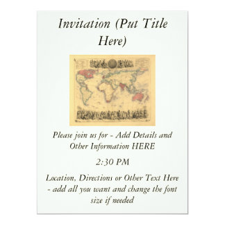 1850's Map of British Empire Throughout the World 6.5x8.75 Paper Invitation Card