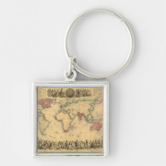 1850's Map of British Empire Throughout the World Keychain