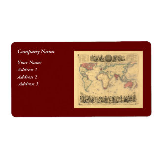 1850's Map of British Empire Throughout the World Label