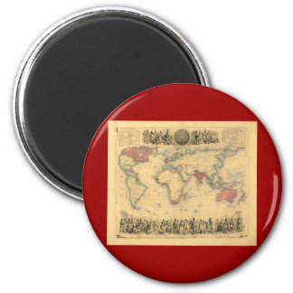 1850's Map of British Empire Throughout the World Magnet
