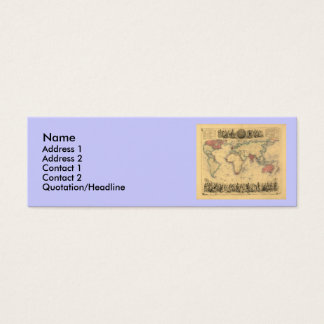 1850's Map of British Empire Throughout the World Mini Business Card