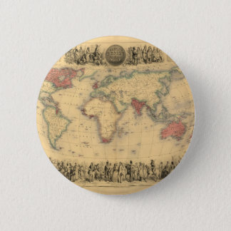 1850's Map of British Empire Throughout the World Pinback Button