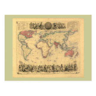 1850's Map of British Empire Throughout the World Postcard