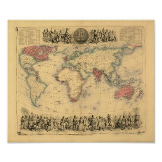 1850's Map of British Empire Throughout the World print