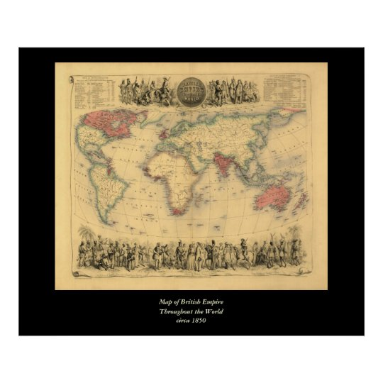 1850's Map of British Empire Throughout the World Poster