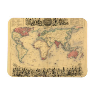 1850's Map of British Empire Throughout the World Rectangular Photo Magnet