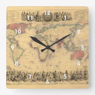 1850's Map of British Empire Throughout the World Square Wall Clock