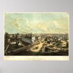 1850's Oshkosh, mapa panorámico de la opinión del  Póster