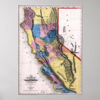 1851 California Gold  Map Poster