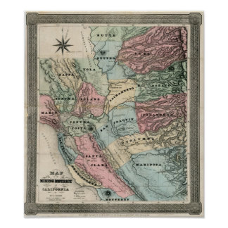 1851 Map of the Mining District of California Poster