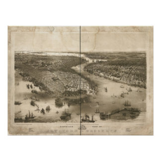 1851 New York & Brooklyn Birds Eye Panoramic Map Poster