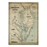 1852 Chart of Chesapeake and Delaware Bays Poster