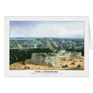1852 Color Lithograph - View of Washington Card