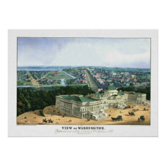 1852 Color Lithograph - View of Washington Poster