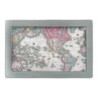 1852 J.H. Colton Map of the World Rectangular Belt Buckle