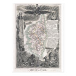 1852 Map of  Corsica Post Card
