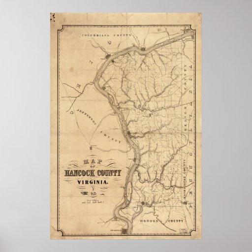 1852 mapa el condado de Hancock Virginia Póster