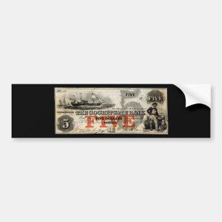 1853 billete de banco de Cochituate de cinco dólar Pegatina Para Auto