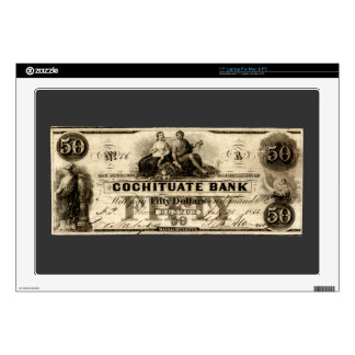 """1853 Cochituate Fifty Dollar Note 17"""" Laptop Decal"""