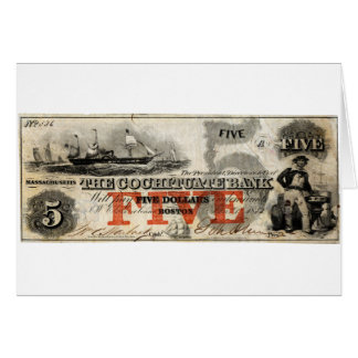 1853 Five Dollar Cochituate Bank Note Greeting Card