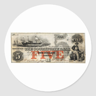 1853 Five Dollar Cochituate Bank Note Classic Round Sticker