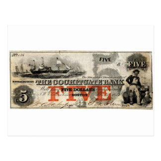1853 Five Dollar Cochituate Bank Note Postcard