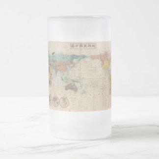 1853 Japanese world map by Suido Nakajima Frosted Glass Beer Mug
