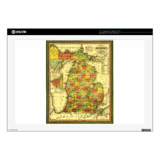 "1853 Vivid Map of Michigan Show true allegiance MI 17"" Laptop Skins"