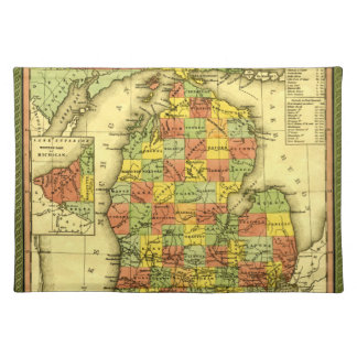 1853 Vivid Map of Michigan Show true allegiance MI Cloth Placemat