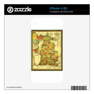 1853 Vivid Map of Michigan Show true allegiance MI iPhone 4 Decals