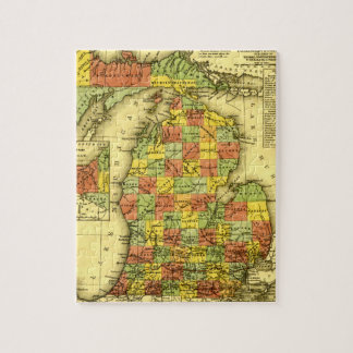 1853 Vivid Map of Michigan Show true allegiance MI Jigsaw Puzzle