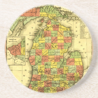 1853 Vivid Map of Michigan Show true allegiance MI Sandstone Coaster