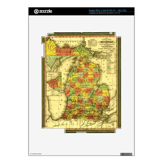 1853 Vivid Map of Michigan Show true allegiance MI iPad 3 Decals