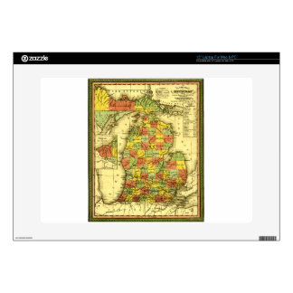 1853 Vivid Map of Michigan Show true allegiance MI Skin For Laptop
