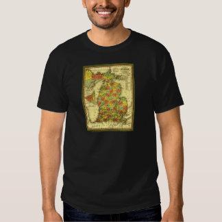 1853 Vivid Map of Michigan Show true allegiance MI T-Shirt