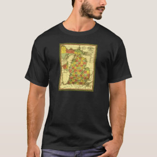 1853 Vivid Map of Michigan Show true allegiance MI T-Shirt