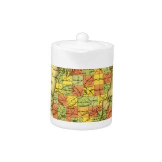 1853 Vivid Map of Michigan Show true allegiance MI Teapot