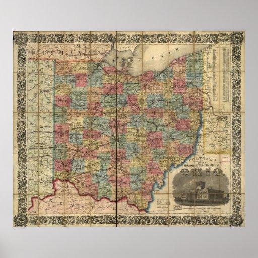 1854 Antique Rail Map of Ohio Print