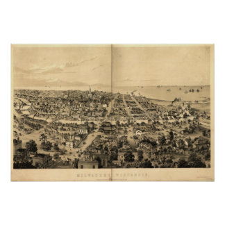 1854 Milwaukee, WI Birds Eye View Panoramic Map Poster