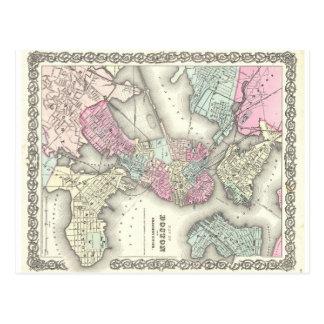 1855 Boston Map Postcard
