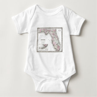1855 Colton Map of Florida Baby Bodysuit