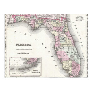 1855 Colton Map of Florida Postcard