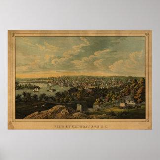 1855 Georgetown DC Birds Eye View Panoramic Map Poster