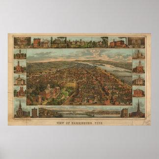 1855 Harrisburg, mapa panorámico de la opinión de  Impresiones