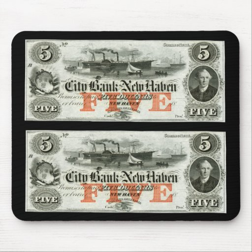 1855 New Haven Five Dollar Note Mouse Pad