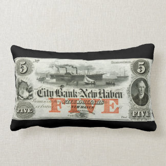 1855 New Haven Five Dollar Note Pillow