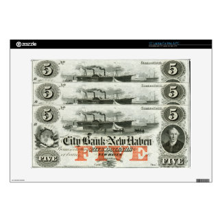 1855 New Haven Five Dollar Note Skin For Laptop