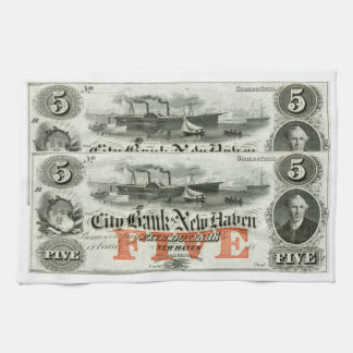 1855 New Haven Five Dollar Note Towels