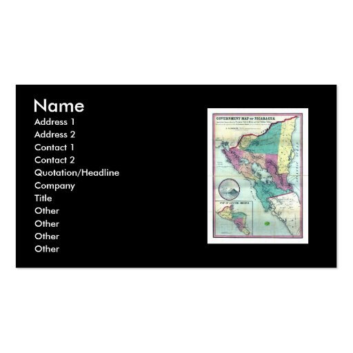 1856 Government Map of Nicaragua by A.H. Jocelyn Double-Sided Standard Business Cards (Pack Of 100)
