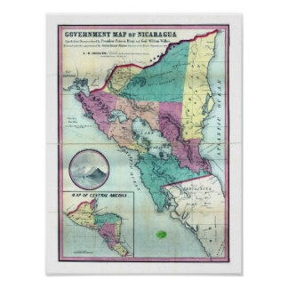 1856 Government Map of Nicaragua by A.H. Jocelyn Poster